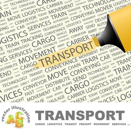 trucking: TRANSPORT. Highlighter over background with different association terms. Vector illustration. Illustration