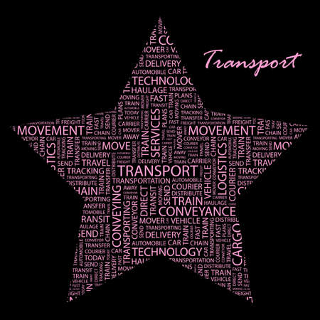 TRANSPORT. Word collage on black background. Stock Vector - 9908898