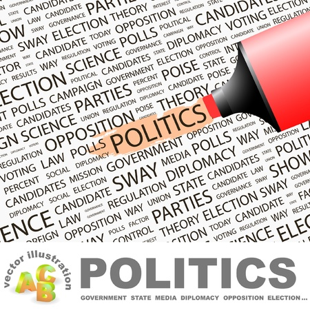 predominance: POLITICS. Highlighter over background with different association terms. Vector illustration.