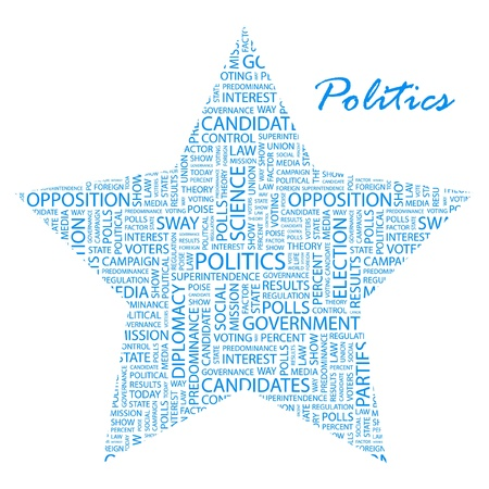 predominance: POLITICS. Word collage on white background. Vector illustration. Illustration with different association terms.