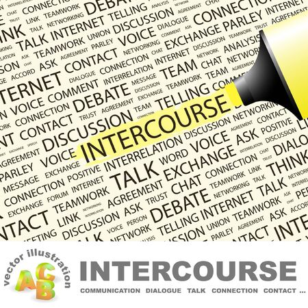 INTERCOURSE. Highlighter over background with different association terms. Vector illustration. Stock Vector - 9396681