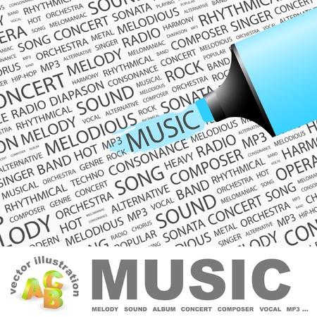 heavy metal music: MUSICA. Evidenziatore sopra sfondo con termini differenti associazione. Illustrazione vettoriale.