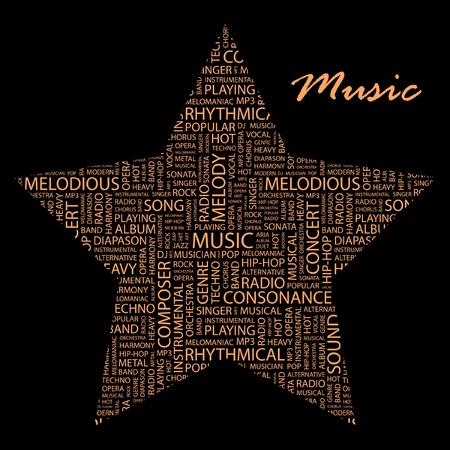 duet: MUSIC. Word collage on black background. Vector illustration. Illustration with different association terms.