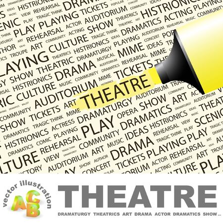 THEATRE. Highlighter over background with different association terms. Vector illustration. Illustration
