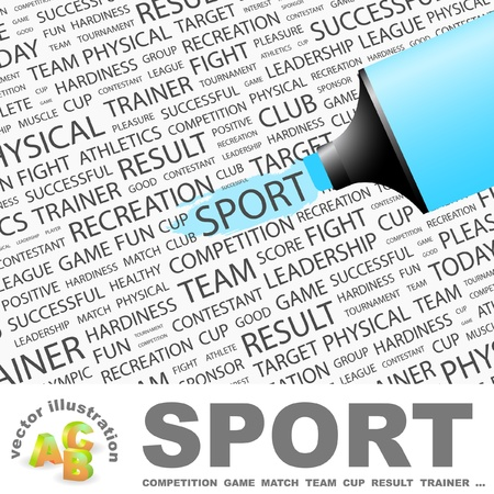 SPORT. Highlighter over background with different association terms. Vector illustration. Vector
