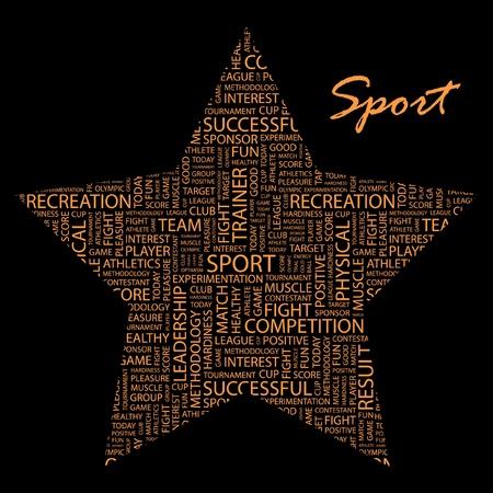 deportes olimpicos: DEPORTE. Collage de palabra sobre fondo negro.