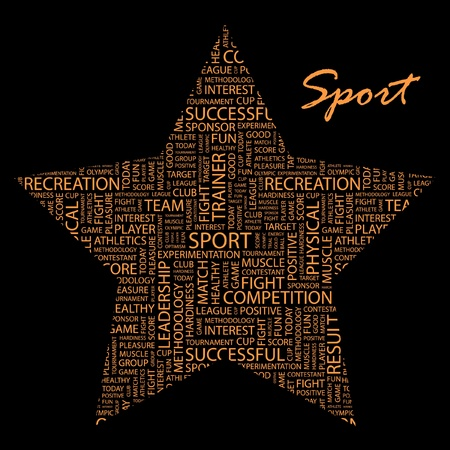 SPORT. Word collage on black background. Vector