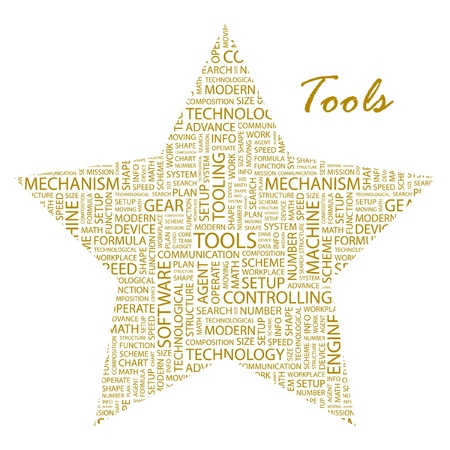 TOOLS. Word collage on white background. Vector illustration. Illustration with different association terms. Stock Vector - 9399239