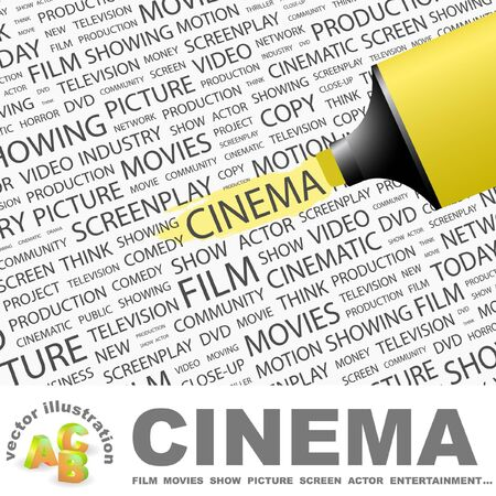 screenplay: CINEMA. Highlighter over background with different association terms. Vector illustration.