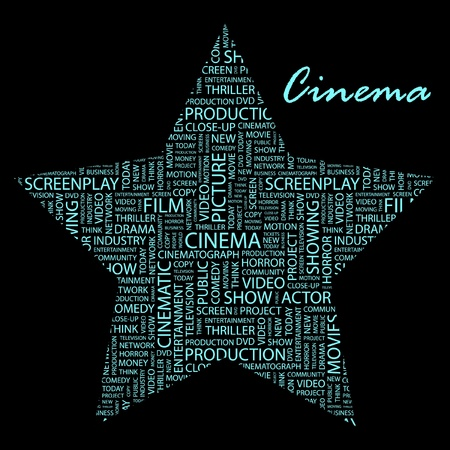 cinematic: CINEMA. Word collage on black background.