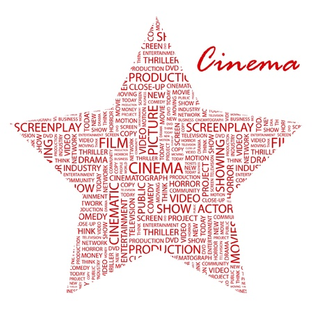 cinematic: CINEMA. Word collage on white background. Vector illustration. Illustration with different association terms.