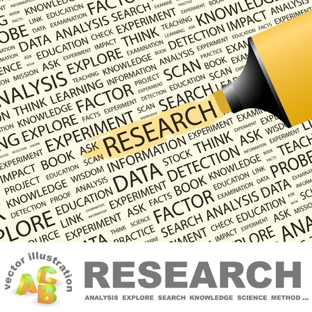 inquest: RESEARCH. Highlighter over background with different association terms. Vector illustration.