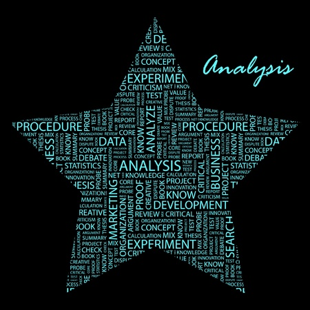 ANALYSIS. Word collage on black background.  Stock Vector - 9906555