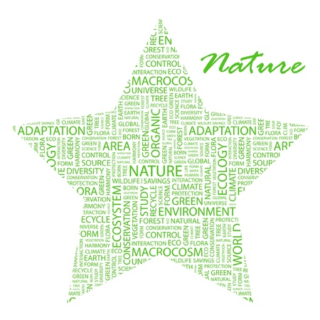 NATURE. Word collage on white background. Vector illustration. Illustration with different association terms.    Vector