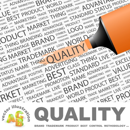 quality management: QUALITY. Highlighter over background with different association terms. Vector illustration.