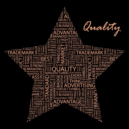 QUALITY. Word collage on black background. Vector illustration. Illustration with different association terms.    Vector