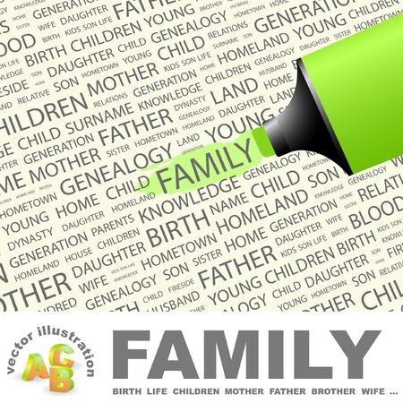 kindred: FAMILY. Highlighter over background with different association terms. Vector illustration. Illustration