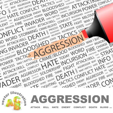 bloodshed: AGGRESSION. Highlighter over background with different association terms. Vector illustration.