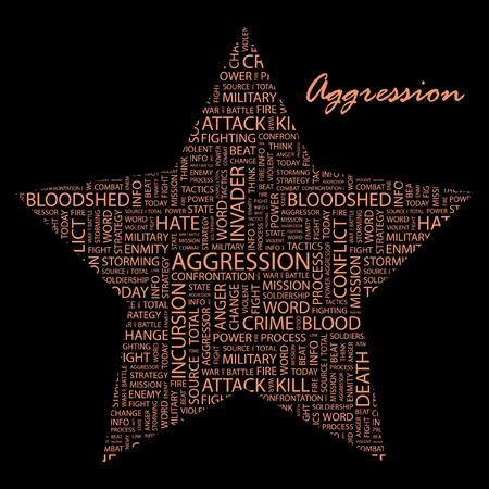 aggression: AGGRESSION. Word collage on white background. Illustration with different association terms.