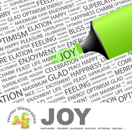 JOY. Highlighter over background with different association terms. Vector illustration. Vector
