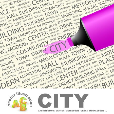 CITY. Highlighter over background with different association terms. Vector illustration. Stock Vector - 9399185