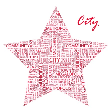 CITY. Word collage on white background. Vector illustration. Illustration with different association terms.    Stock Vector - 9396649