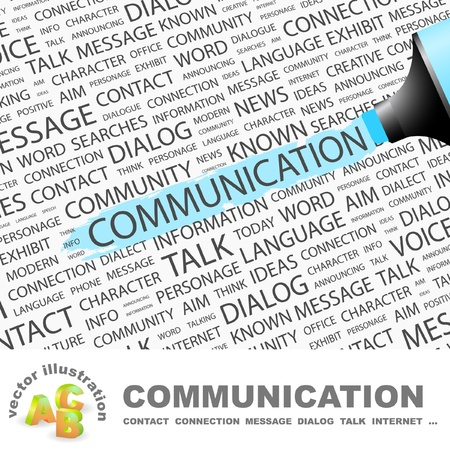 relaciones humanas: COMUNICACI�N. Marcador de resaltado sobre fondo con t�rminos de asociaci�n diferente. Ilustraci�n vectorial.