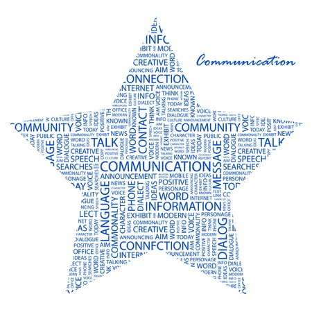 advisement: COMMUNICATION. Word collage on white background. Vector illustration. Illustration with different association terms.