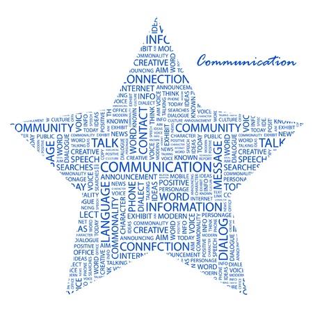 COMUNICACIÓN. Collage de palabra sobre fondo blanco. Ilustración vectorial. Ilustración con términos de asociación diferente.