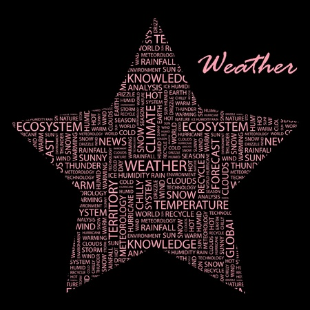 WEATHER. Word collage on black background. Vector illustration. Illustration with different association terms.    Stock Vector - 9396619