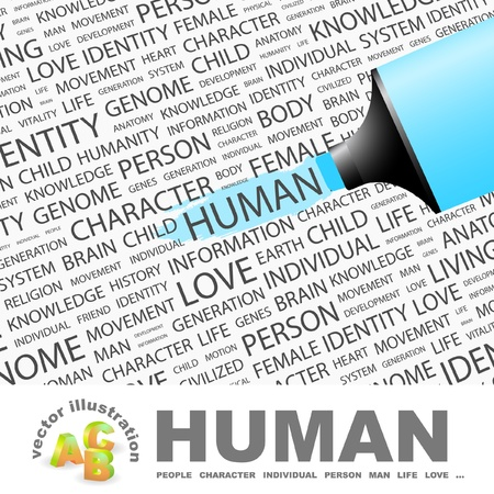HUMAN. Highlighter over background with different association terms. Vector illustration.