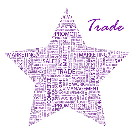 world trade center: TRADE. Word collage on white background. Vector illustration. Illustration with different association terms.
