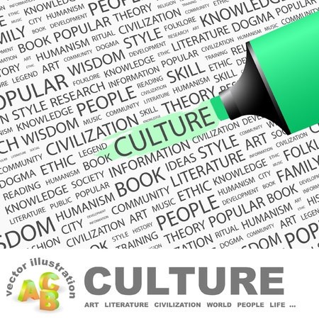 CULTURE. Highlighter over background with different association terms. Vector illustration. Vector