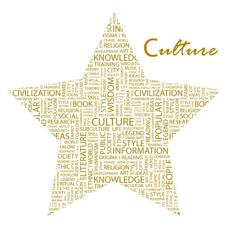 CULTURE. Word collage on white background. Vector illustration. Illustration with different association terms.    Vector