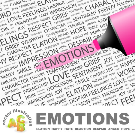 emphasize: EMOTIONS. Highlighter over background with different association terms. Vector illustration.