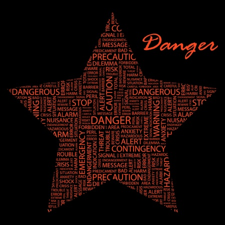 DANGER. Word collage on black background. Vector illustration. Illustration with different association terms.    Vector