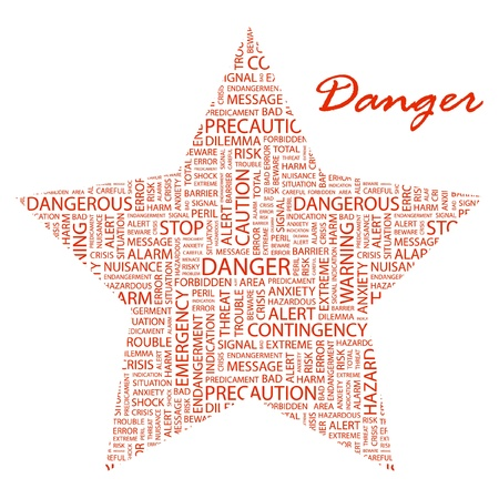 endangerment: DANGER. Word collage on white background. Illustration