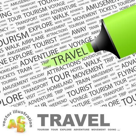 TRAVEL. Highlighter over background with different association terms. Vector illustration. Stock Vector - 9396664