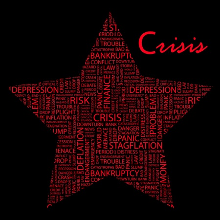 endangerment: CRISIS. Word collage on black background.
