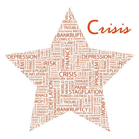 endangerment: CRISIS. Word collage on white background. Vector illustration. Illustration with different association terms.    Illustration