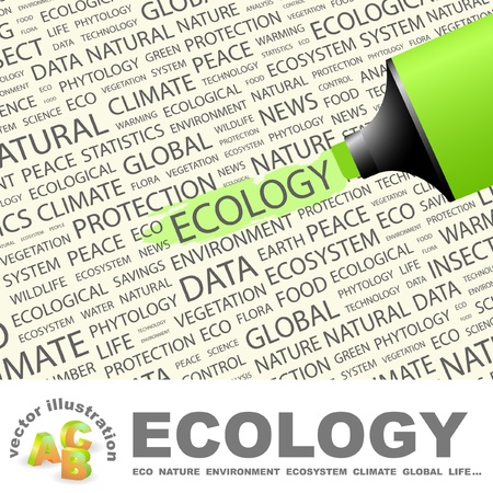 ECOLOGY. Highlighter over background with different association terms. Vector illustration. Vector