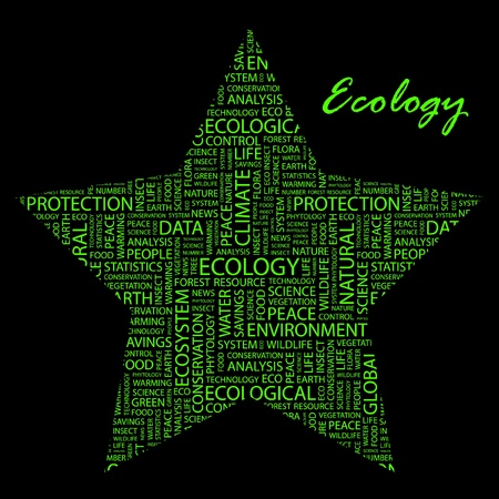 phytology: ECOLOGY. Word collage on black background.