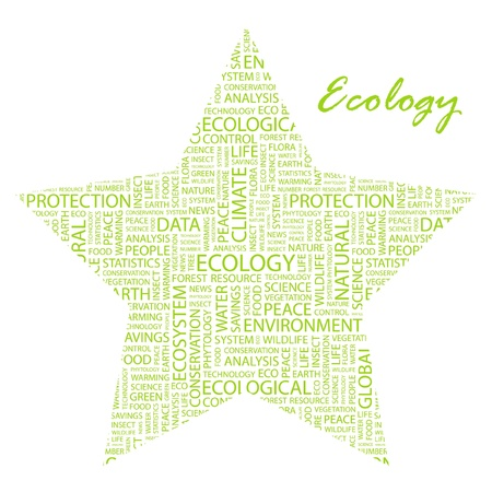 ECOLOGY. Word collage on white background. Vector illustration. Illustration with different association terms. Stock Vector - 9396624