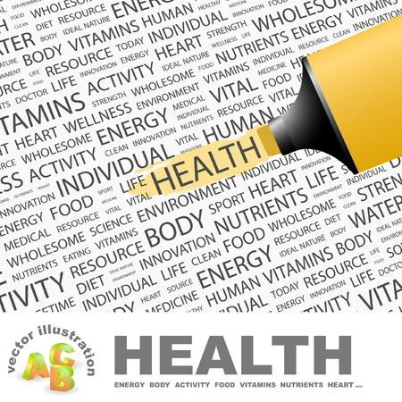 highlighter: HEALTH. Highlighter over background with different association terms. Vector illustration. Illustration