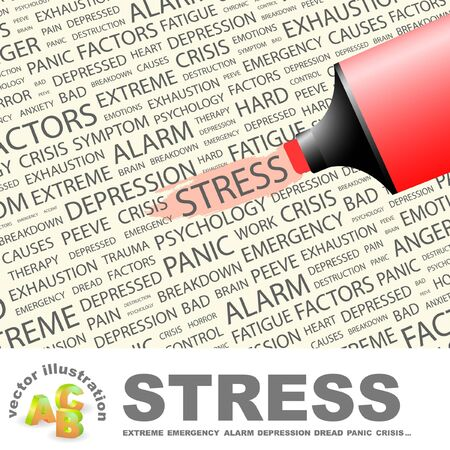 peeve: STRESS. Highlighter over background with different association terms. Vector illustration. Illustration