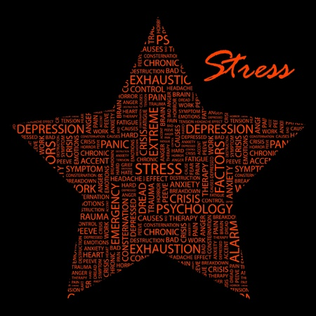peeve: STRESS. Word collage on black background. Vector illustration. Illustration with different association terms.