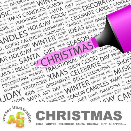CHRISTMAS. Highlighter over background with different association terms. Vector illustration. Stock Vector - 9396680