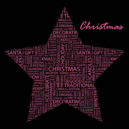 CHRISTMAS. Word collage on black background.  Vector