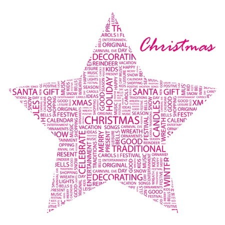 x mas party: CHRISTMAS. Word collage on white background. Vector illustration. Illustration with different association terms.