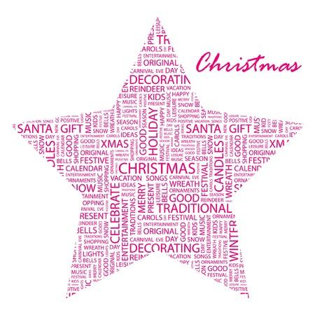 christmass: NAVIDAD. Collage de palabra sobre fondo blanco. Ilustraci�n vectorial. Ilustraci�n con t�rminos de asociaci�n diferente.